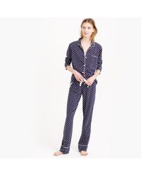 J.Crew | Blue Dreamy Cotton Pajama Set In Dot | Lyst