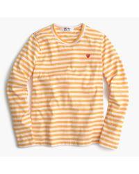 J.Crew | Yellow Comme Des Garçons Striped Heart T-shirt | Lyst