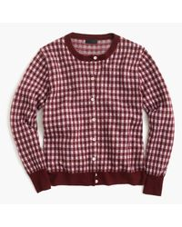 J.Crew - Red Italian Featherweight Cashmere Cardigan Sweater In Gingham - Lyst