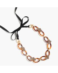 J.Crew   Metallic Tortoise Oval Link Necklace With Crystals   Lyst