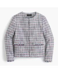 J.Crew | Blue Jacket In Lightweight Tweed | Lyst