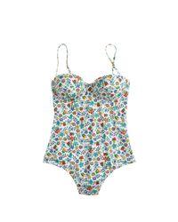 J.Crew | Blue Underwire One-piece Swimsuit In Liberty Edenham Floral | Lyst