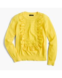 J.Crew | Yellow Eyelet Sweater In Summerweight Cotton | Lyst