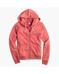 J.Crew | Red French Terry Full-zip Hoodie for Men | Lyst