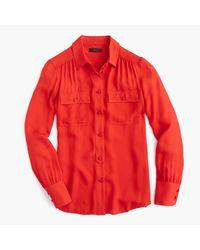 J.Crew | Red Petite New Blythe Top In Silk Georgette | Lyst