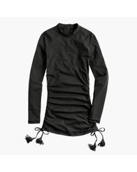 J.Crew | Black Ruched Rash Guard With Tassels | Lyst