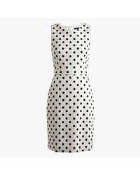 J.Crew | White Petite Sheath Dress In Polka Dot Textured Tweed | Lyst