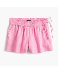 J.Crew | Pink Linen Short With Side Ties | Lyst