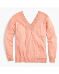 J.Crew | Pink Italian Featherweight Cashmere Double V-neck Sweater | Lyst