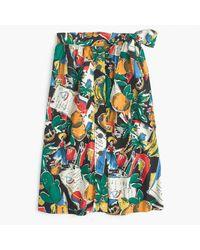 J.Crew | Black Tall A-line Button-up Skirt In Postcard Print | Lyst