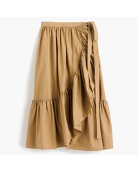 J.Crew - Brown Ruffle Wrap Skirt In Cotton Poplin - Lyst