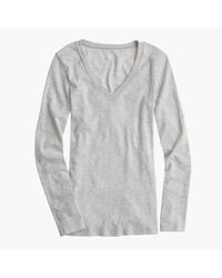 J.Crew - Gray Perfect-fit Long-sleeve V-neck T-shirt - Lyst