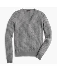 J.Crew | Gray Cambridge Cable V-neck Sweater for Men | Lyst