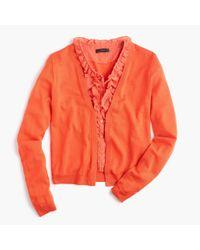 J.Crew - Orange Cardigan Sweater With Ruffly Underlay - Lyst