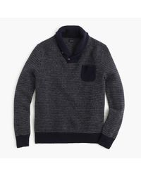 J.Crew | Blue Lambswool Jacquard Shawl-collar Sweater for Men | Lyst
