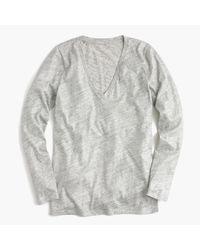J.Crew | Vintage Cotton Long-sleeve V-neck T-shirt In Metallic | Lyst