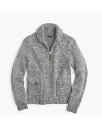 J.Crew | Gray Wool-alpaca Shawl-collar Zip-up Cardigan Sweater for Men | Lyst