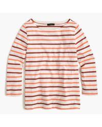 J.Crew | Pink Boatneck T-shirt In Multicolor Stripe | Lyst