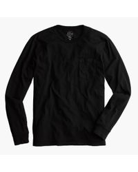 J.Crew - Black Broken-in Long-sleeve Pocket T-shirt for Men - Lyst