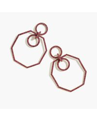 J.Crew - Metallic Pave Octagon Earrings - Lyst