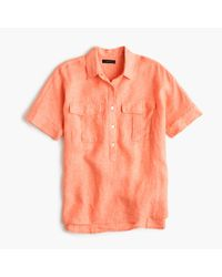 J.Crew | Orange Tall Short-sleeve Popover Shirt In Irish Linen for Men | Lyst