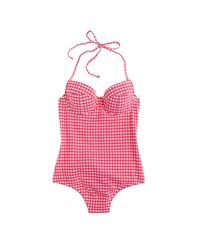 J.Crew | Pink Dd-cup Underwire Halter One-piece Swimsuit In Gingham Seersucker | Lyst