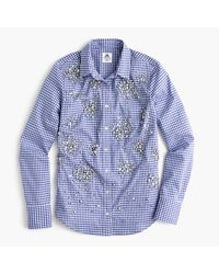 J.Crew   Blue Collection Thomas Mason Top In Embellished Gingham   Lyst