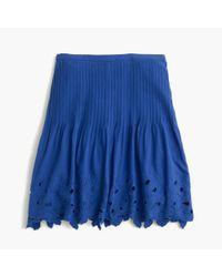 J.Crew | Blue Eyelet Floral Mini Skirt | Lyst