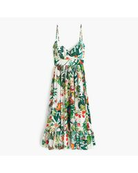 J.Crew | Green Collection Silk Ruffle Dress In Ratti Into The Wild Print | Lyst