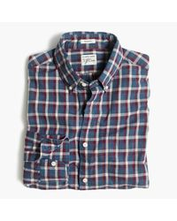 J.Crew | Blue Secret Wash Shirt In Heather Poplin Plaid for Men | Lyst