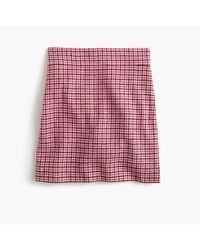 J.Crew | Mini Skirt In Pink Houndstooth | Lyst