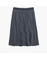 J.Crew | Blue Petite Double-pleated Midi Skirt In Stripe | Lyst