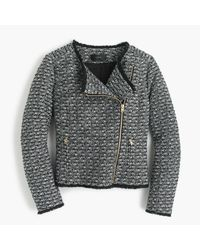 J.Crew | Gray Zip Jacket In Fringy Tweed | Lyst
