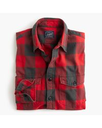 J.Crew   Midweight Flannel Shirt In Red Buffalo Check for Men   Lyst