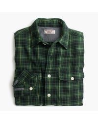 J.Crew | Wallace & Barnes Flannel Shirt In Green Plaid for Men | Lyst
