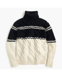 J.Crew | Blue For Net-a-porter Striped Cable Turtleneck Sweater | Lyst