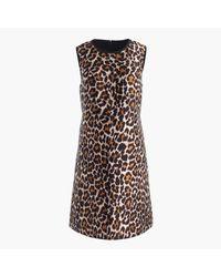 J.Crew | Black Tall A-line Shift Dress In Leopard Print | Lyst