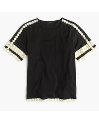 J.Crew | Black Lace Embroidered Top | Lyst