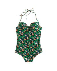 J.Crew | Green Underwire Halter One-piece Swimsuit In Ratti Lotus Floral Print | Lyst