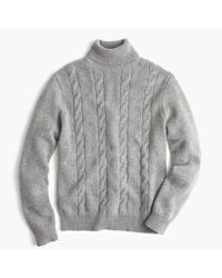 J.Crew   Gray Italian Cashmere Cable Turtleneck Sweater for Men   Lyst