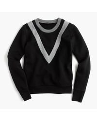 J.Crew | Black Varsity Colorblock Sweatshirt | Lyst