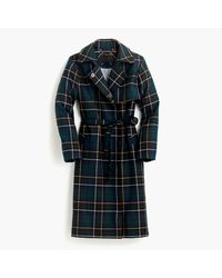 J.Crew | Blue Collection Trench Coat In Tartan | Lyst