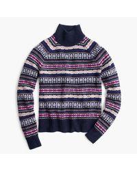 J.Crew | Blue Fair Isle Turtleneck Sweater | Lyst