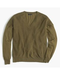 J.Crew | Green V-neck Sweater In Merino Wool-cotton for Men | Lyst