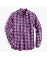 J.Crew | Petite Boy Shirt In Purple Twilight Plaid | Lyst