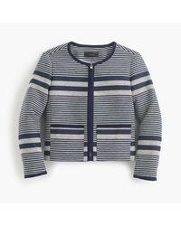 J.Crew | Blue Petite Jacket In Striped Navy Tweed | Lyst
