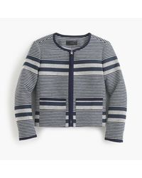 J.Crew | Blue Jacket In Striped Navy Tweed | Lyst