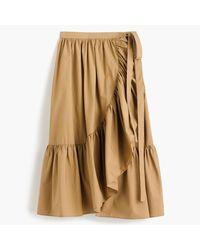 J.Crew | Brown Ruffle Wrap Skirt In Cotton Poplin | Lyst