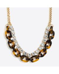 J.Crew - Multicolor Crystal Tortoise Link Statement Necklace - Lyst