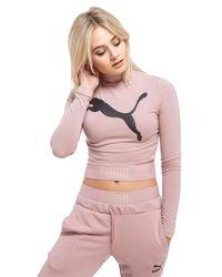 PUMA - Pink High Neck Long-sleeved Crop Top - Lyst